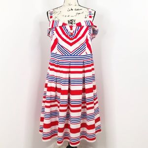 ELOQUII Red White Blue Fit Flare Dress Size 18